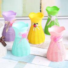 JN_ Plastic Rattan Simulation Basket Dried Flower Vase Pot DIY Home Decor New