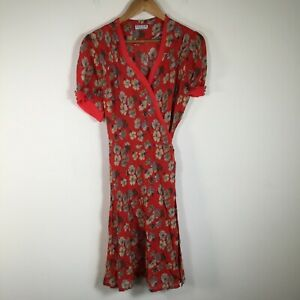VINTAGE Review womens wrap dress size 12 sheer red floral short sleeve tie up