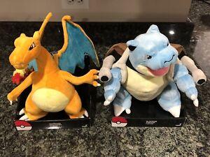 Rare Pokemon TOMY Charizard & Blastoise 13-Inch Deluxe Plushes! Mint! Brand New!