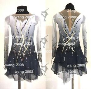 ice figure skating competition dress Gymnastics costum dance Dress dyeing grey