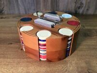 Vintage Poker Chip Set Wood Carousel Caddy & Cover Chips 2 Decks A1