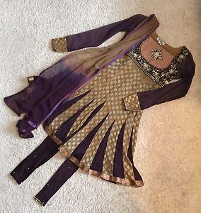 Bombay Looks Regal  Punjabi Pakistani Designer Tan & Purple Suit / Size 10