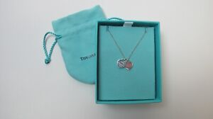 """Tiffany and Co Sterling Silver Mini Double Heart Tag Pendant Necklace 16"""""""