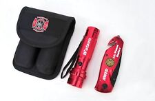 Personalized Laser Engraved Firefighter Rescue Knife & Flashlight Combo Set