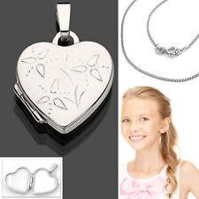 Damen Herz Foto Amulett Medaillon Anhänger mit Kette Silber 925 für 2 Bilder Neu