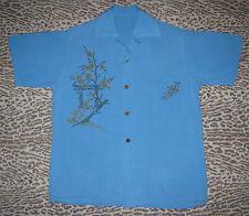 Vtg 50s Aqua Blue Japanese Torii Cherry Blossom Print Raw Silk Shirt Rockabilly