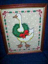 "15.5"" x 12.5"" Wood Framed NEEDLECRAFT ""COUNTRY CHRISTMAS DUCK or GOOSE"""