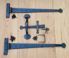 "Pair 18 Inch T Hinges & Suffolk Thumb Latch - wrought iron 18"" antique penny tee"
