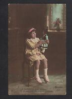 FILLETTE avec sa POUPEE ALSACIENNE en 1915 / Oblitération postale FRANCHESSE 03