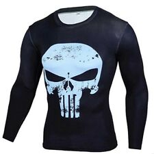 Punisher 3D Print Compression Quick Dry Long Sleeve Workout Tee Adult Large