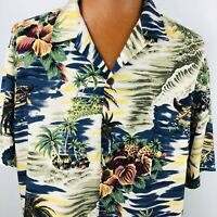 Hilo Hattie Hawaiian Aloha XL Shirt Outrigger Island Palm Trees Blue Floral