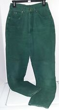 Vintage Chic Jeans Womens size 12 Green Straight Leg High Rise Cotton Flat Front