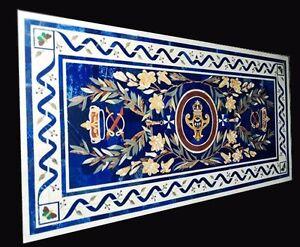 "48"" x 24"" Marble Center Table Top Lapis Pietra Dura Inlay Work Home Decor"
