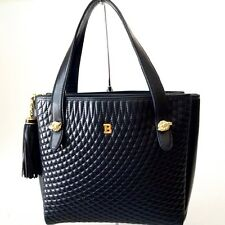 BALLY QUILTED LAMBSKIN LEATHER HANDBAG PURSE BLACK - MADE IN ITALY - EXCELLENT
