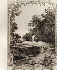 EAU FORTE / Fables de la Fontaine 1883 / LE PETIT POISSON ET LE PESCHEUR