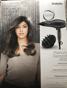 Babyliss Platinum Diamond 2300 Hairdryer.2.7mt Cord.5yr Guarantee.BNIB