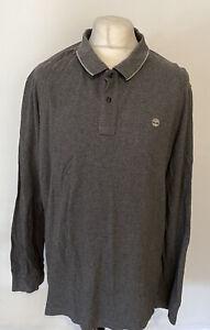 Timberland Men's Polo T Shirt Grey Long Sleeve 3XL XXXL 100% Cotton