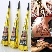 Natural Herbal Henna Cones Temporary Tattoo Kit Body Art Paint Mehandi Ink Black