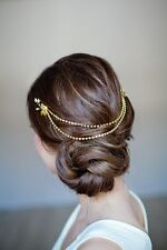 Bridal Hair Vine Boho Gold Head Chain Leaves Tiara Headband Crown Headpiece