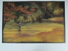 art print poster lithograph Jeff Surret Fly Fishing river freshwater drawing