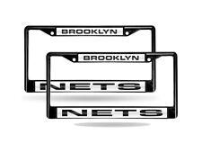 Brooklyn Nets NBA Black Metal (2) Laser Cut License Plate Frame Set