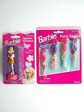 Vtg Barbie Lot Of 2: Party Favors Figurine Pendants 1999 & Figurine Stamper 1996