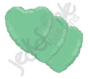 "3pc 18"" Solid Wintergreen Heart Balloon Wedding Baby Bridal Shower Birthday Mint"