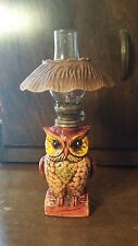 Owl Miniature Ceramic Oil Lamp clear Glass Chimney Vintage 1960s ~ Free Shipping