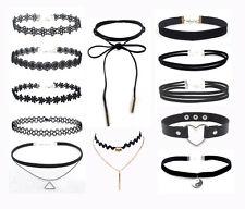 90'S Punk Fashion 12 Pcs Choker Necklace Set Velvet Classic Gothic Lace Choker