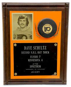 Philadelphia Flyers Dave The Hammer Schultz Plaque 2nd  NHL Hat Trick 1974
