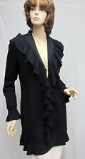 St John Knit Ruffle Kelly COAT Jacket Black 10 12 NWOT $1390