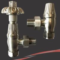 Brushed Nickel Traditional Angled Thermostatic Radiator or Towel Rail Valves