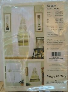 """Today's Curtain Fine Macrame Trim of Hearts White Natalie Swagger 80""""x63"""" New"""
