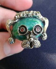 vinatage estate silver tone faux dog face marble like stone jewelry ring