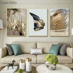 Nordic Decor Feathers Canvas Painting White Poster And Print Unique Modern
