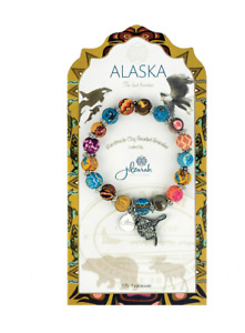 NEW JILZARA Handmade Clay Bead DESTINATION ALASKA MULTI COLOR DAHLI 8mm Bracelet