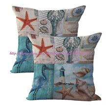US SELLER-2pcs pillow cushion covers lighthouse seashell starfish cushion cover