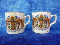 PAIR Vintage King George V & Queen Mary Silver Jubilee SMALL CUPS 1910-35 Royal