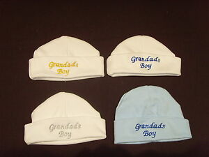 Baby 100% Cotton Embroidered Personalised Hat With The Saying Grandad's Boy