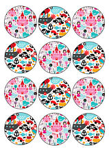 Princess and Pirate Edible Party Cupcake Toppers 12x6cm A4 Icing Sheet
