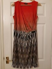 Stretch Dress UK 12 Sleeveless Red, Black & Cream Episode Worn Twice Unusual