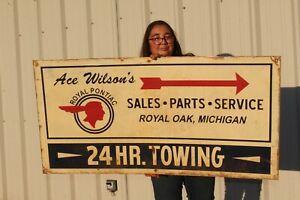 "Large Ace Wilson's Royal Pontiac Car Dealership & Towing Gas Oil 48"" Metal Sign"