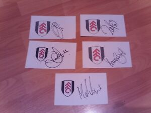 5 signed cards of ex fulham footballers