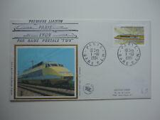 ENVELOPPE 1er JOUR FDC SOIE 1984 TGV 1ERE LIAISON POSTALE  OBLIT ILLU PARIS/LYON