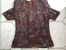 FRANK USHER SILK ABSTRACT PATTERN BEADED IRIDESCENT SEQUINS TUNIC TOP worn once