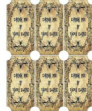 Vintage inspired Halloween 6 large bottle label drink me scrapbooking crafts