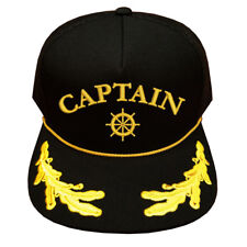 SCRAMBLED EGGS CAPTAIN TEXT WITH SHIP'S WHEEL LOGO CAP HAT CAPTAIN CAP HAT