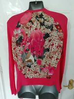 ❤ TED BAKER LONDON Ladies Size 8 (1) Pink Floral Fine Knit Open Cardigan Top