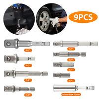 """9Pcs Socket Adapter Drill Bits Set Hex Impact Driver Tools 1/4"""" 3/8"""" 1/2"""" Shank"""