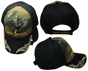 Deer Hunter Black Bill Camouflage Camo Embroidered Hunting Cap Hat